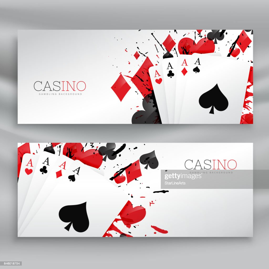casino playing cards banners set background