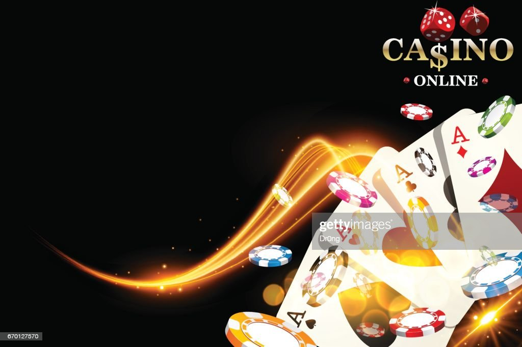 Casino poker chips background. Vector illustration casino banner with playing cards