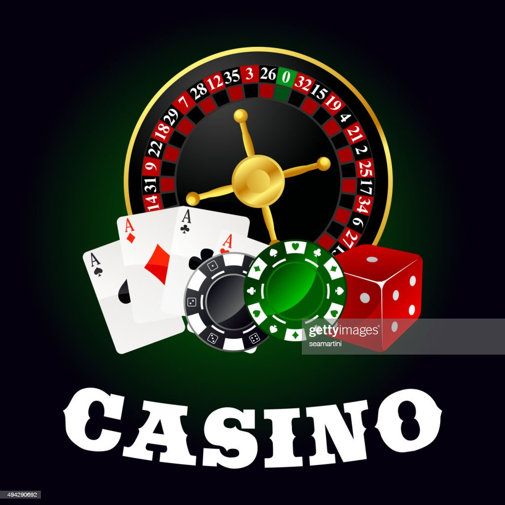 Casino roulette, cards, game chips and dice