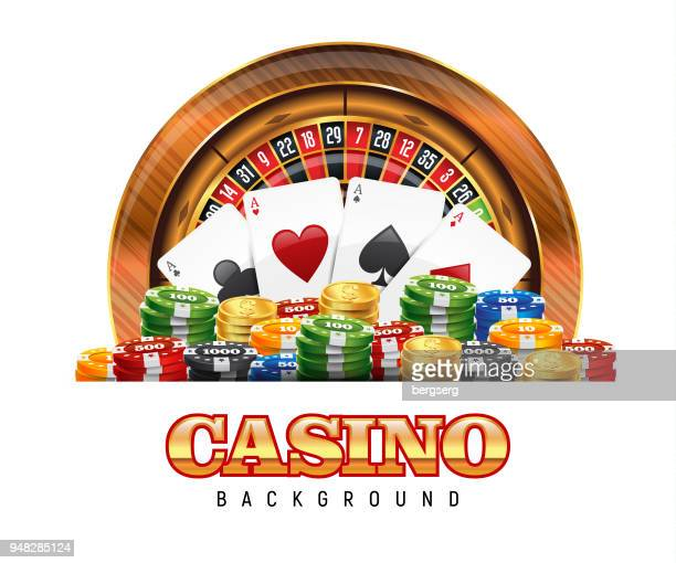 Casino Roulette Wheel, Playing Cards and Gambling Chips on white background