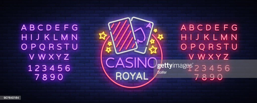 Casino Royal Neon Sign. Neon, emblem gambling, bright banner, neon casino advertising for your projects. Night light billboard, design element. Vector illustration. Editing text neon sign