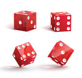 casino rulette red dice cube isolated on white