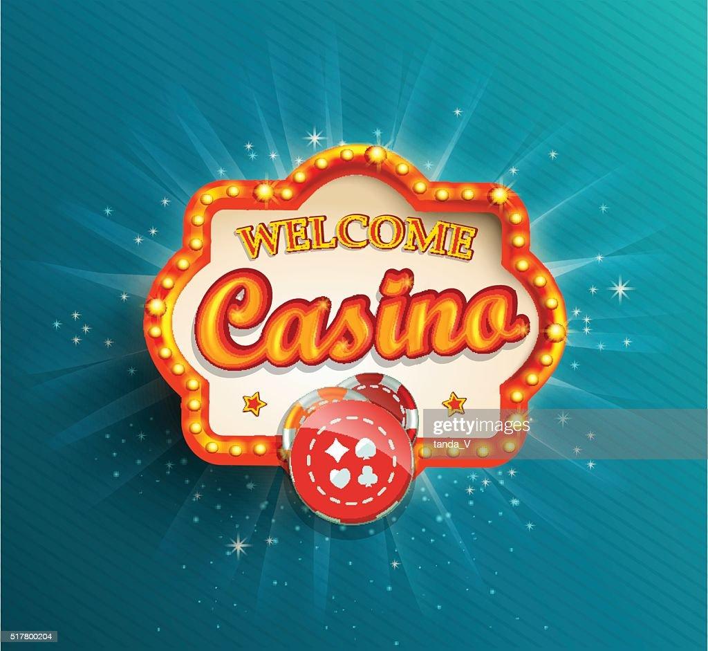 Casino shining retro light frame.