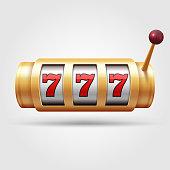 Casino slot machine. 3d gambling reel, lucky symbol isolated vector illustration