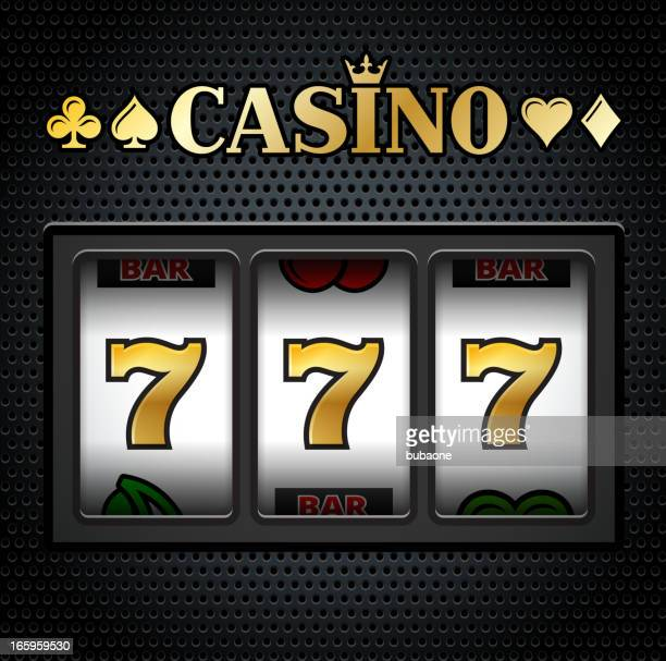 casino slot machine sevens on black background - slot machine stock illustrations, clip art, cartoons, & icons