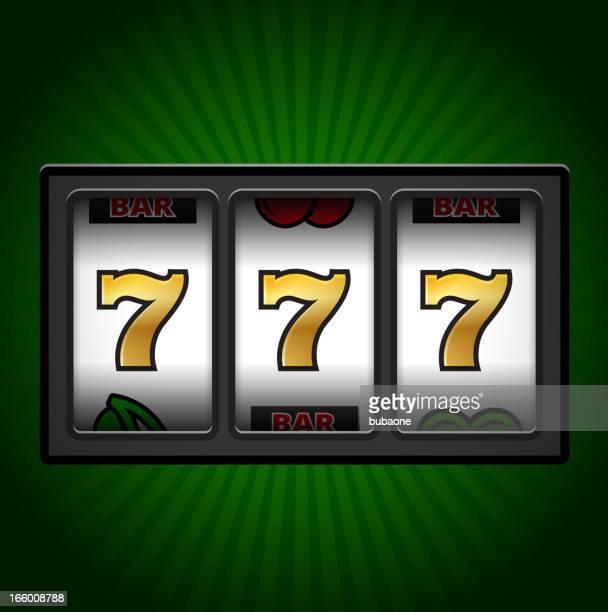 casino slot machine sevens on green background - slot machine stock illustrations, clip art, cartoons, & icons