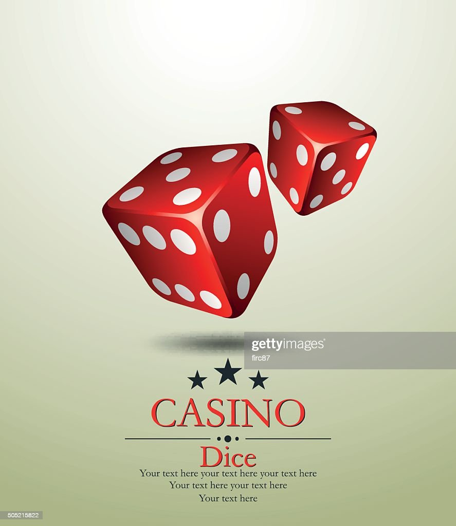 Casino. Two red dice. Vector illustration.