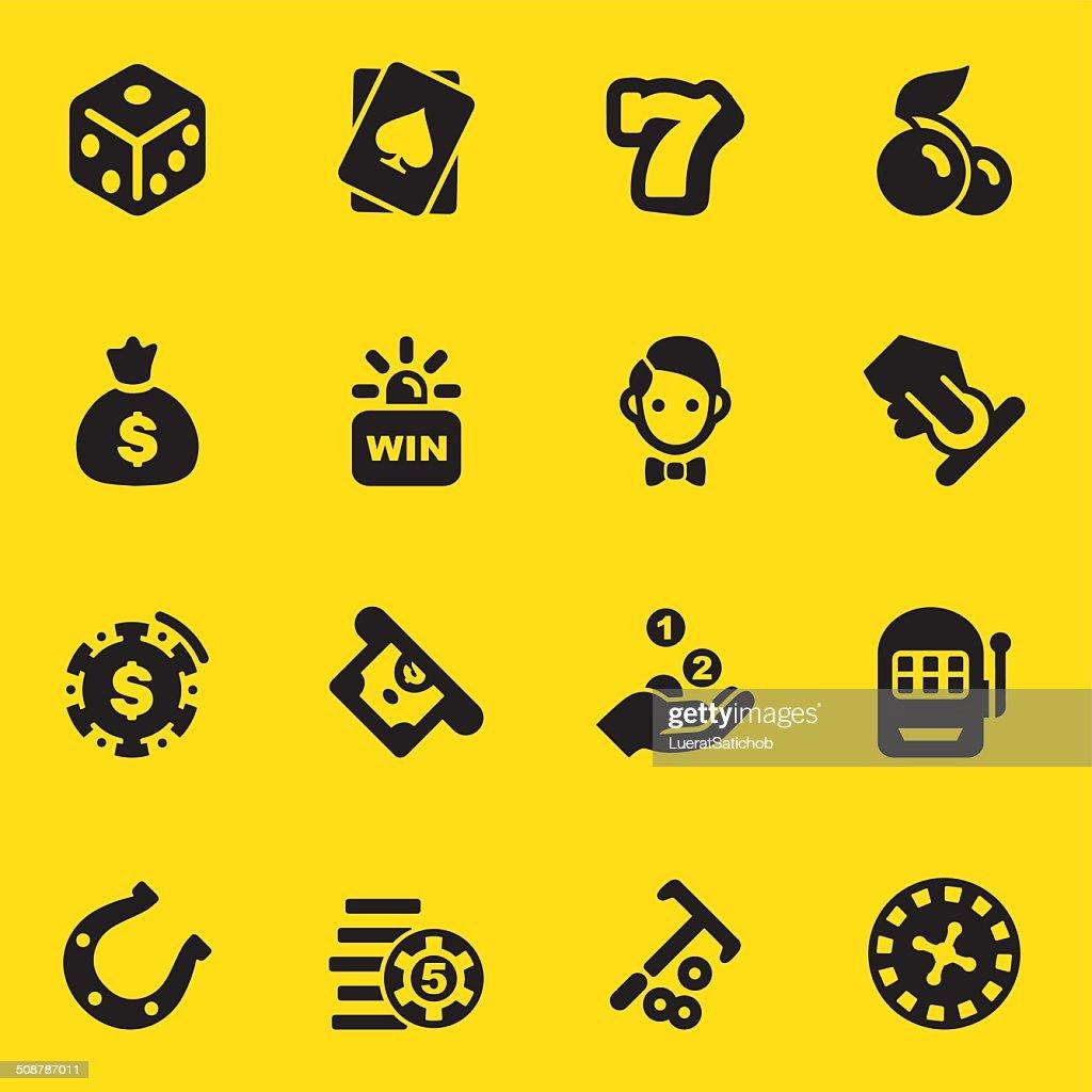 Casino Yellow Silhouette icons | EPS10 : stock illustration