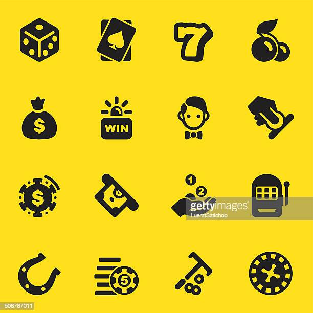 Casino Yellow Silhouette icons | EPS10