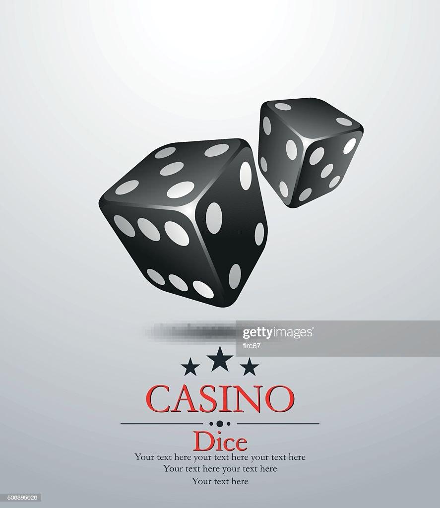 Casino.Two black dices. Vector illustration. Vip.