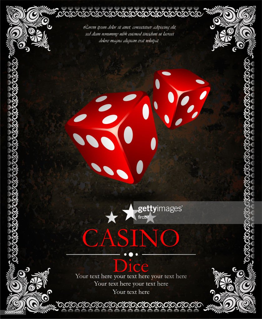 Casino.Vector two red dices. Ornamental frame. Vector illustration. Vip.