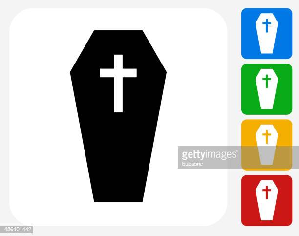 casket and cross icon flat graphic design - coffin stock illustrations