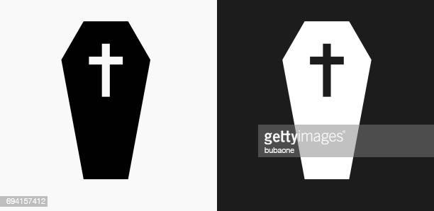casket and cross icon on black and white vector backgrounds - coffin stock illustrations