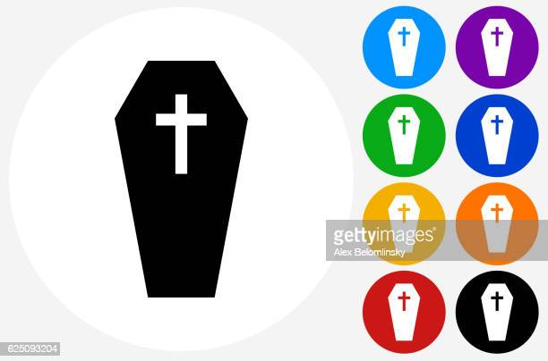Casket and Cross Icon on Flat Color Circle Buttons