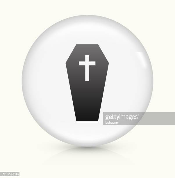 Casket and Cross icon on white round vector button