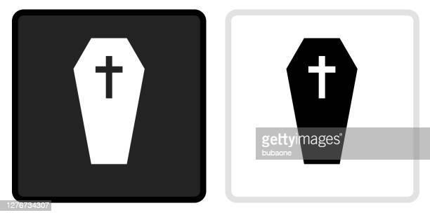 illustrations, cliparts, dessins animés et icônes de cercueil et icône de croix sur le bouton noir avec rollover blanc - cercueil