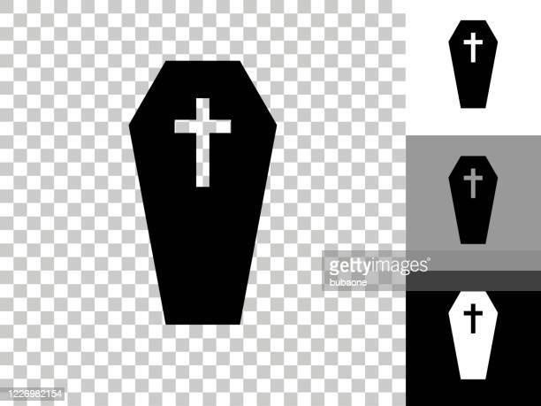 stockillustraties, clipart, cartoons en iconen met casket & cross icoon op dambord transparante achtergrond - doodskist