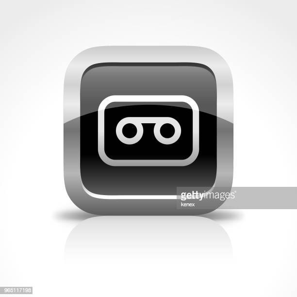 cassette and recording glossy button icon - phone message stock illustrations