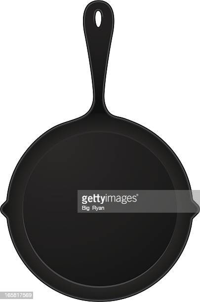 cast iron pan - frying pan stock illustrations