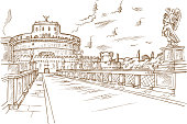 Castel Santangelo hand draw, Rome.