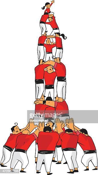 castellers, human pyramid, teamwork - spanish dancer stock illustrations, clip art, cartoons, & icons