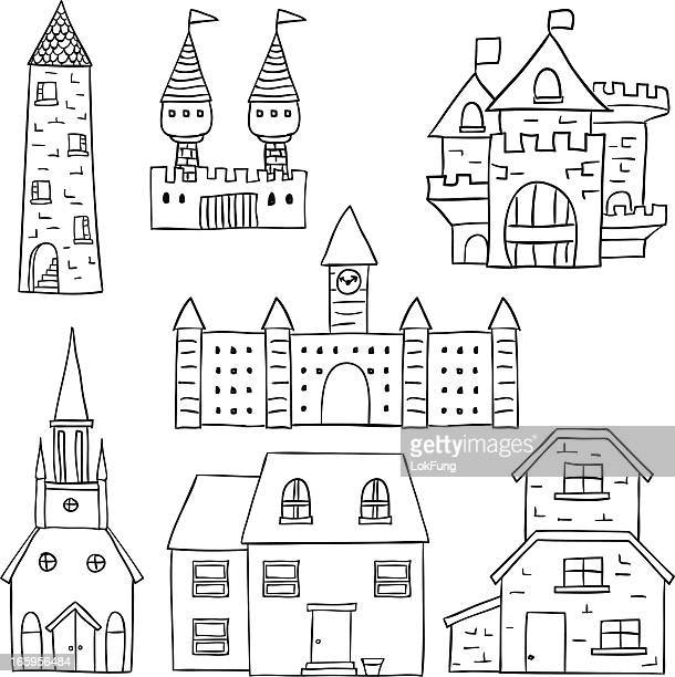 castle and fortress collection - castle stock illustrations