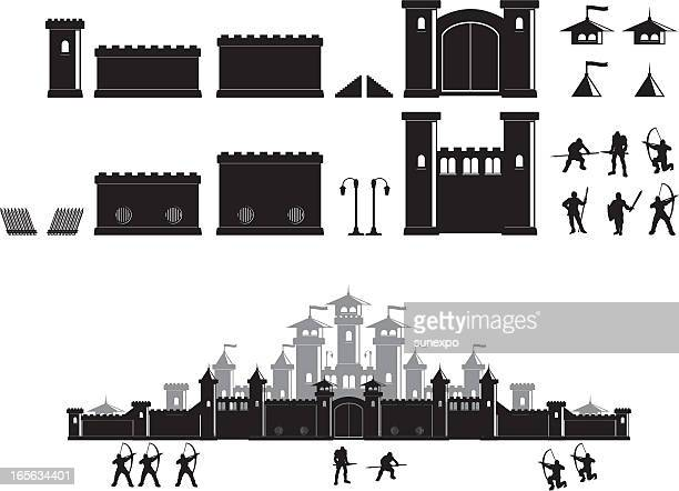 castle construction set - fortified wall stock illustrations