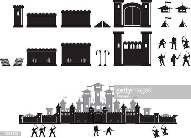 castle construction set - castle stock illustrations