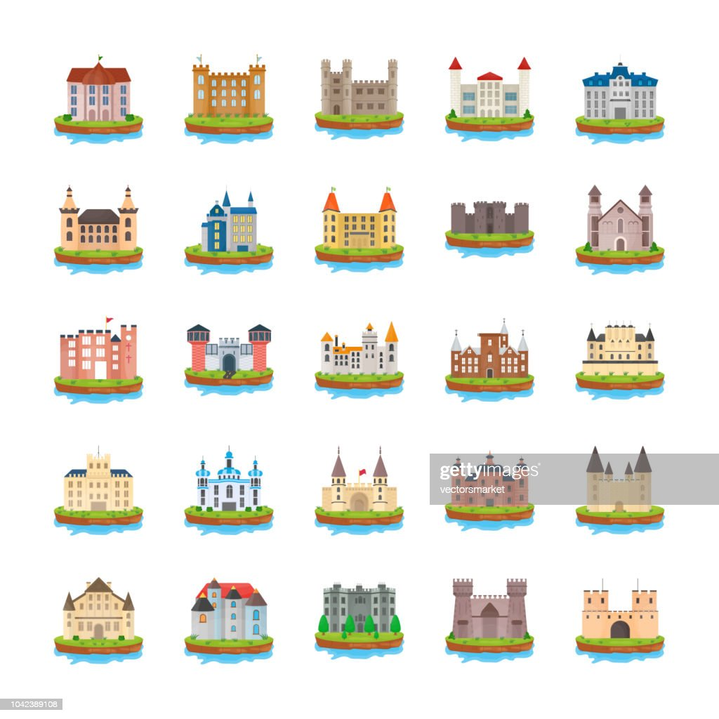 Castle Flat Vector Icons
