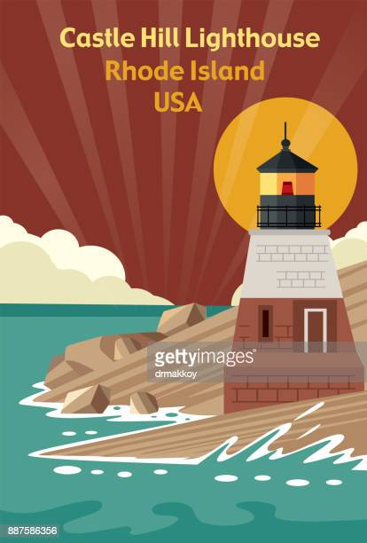 castle hill lighthouse (rhode island) - us marine corps stock illustrations, clip art, cartoons, & icons