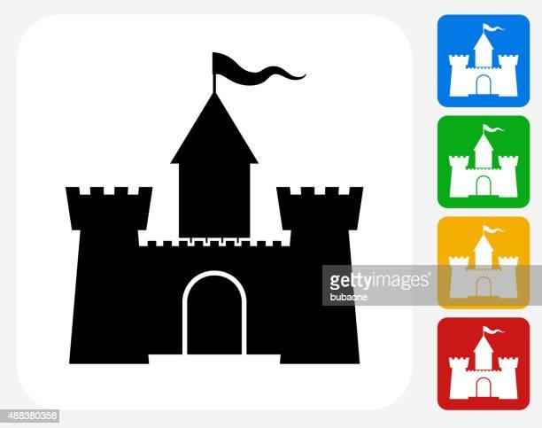 castle icon flat graphic design - castle stock illustrations, clip art, cartoons, & icons