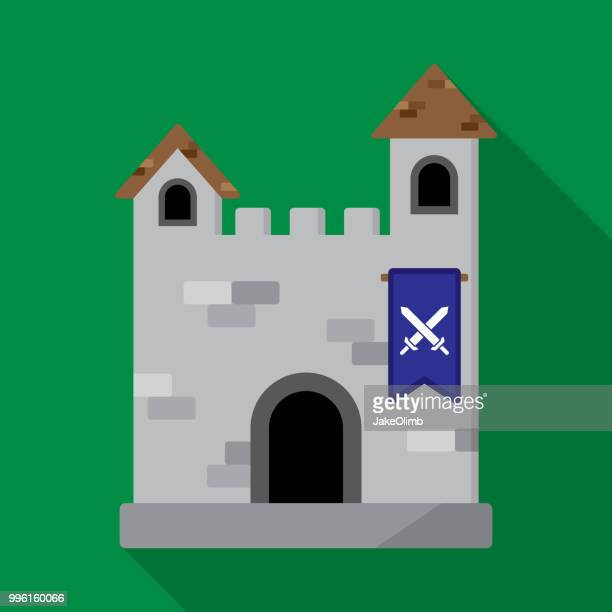 ilustrações de stock, clip art, desenhos animados e ícones de castle icon flat - luta de espadas
