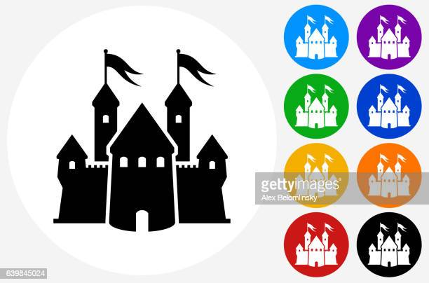 castle icon on flat color circle buttons - castle stock illustrations, clip art, cartoons, & icons
