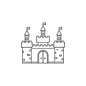 Castle icon vector linear design isolated on white background. Park logo template, element for amusement park, line icon object