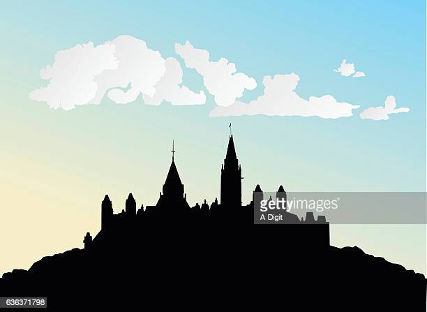 castle in the clouds - castle stock illustrations