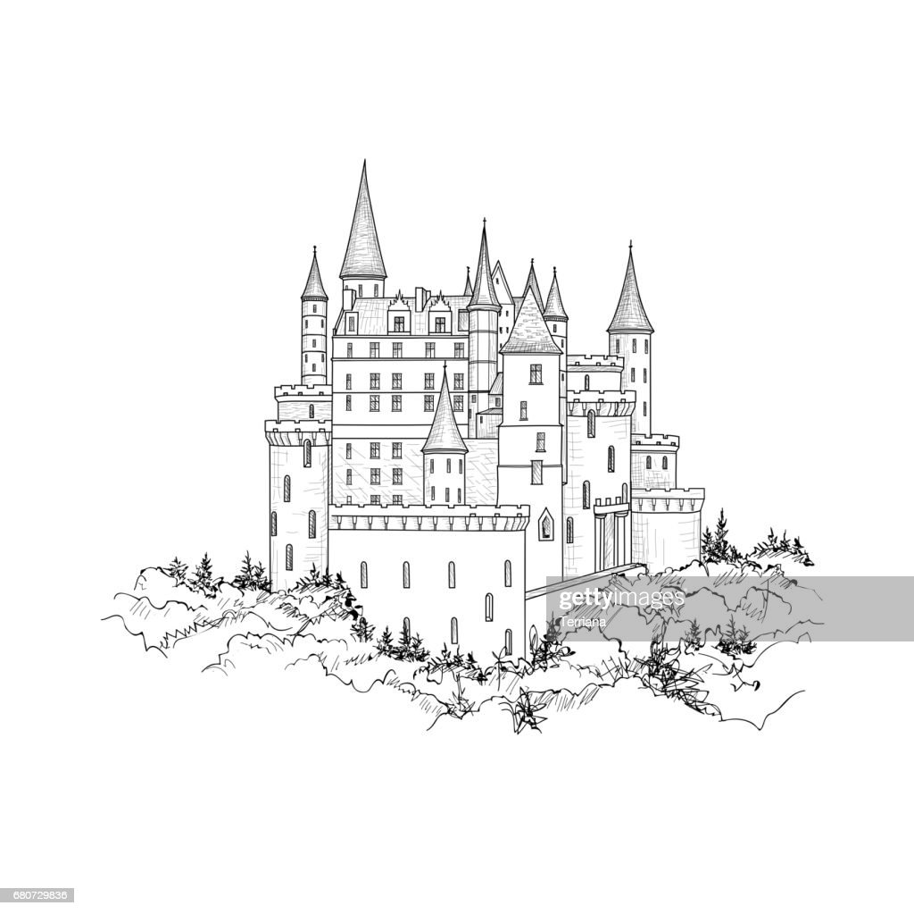 Castle landmark view. Medieval palace building with tower