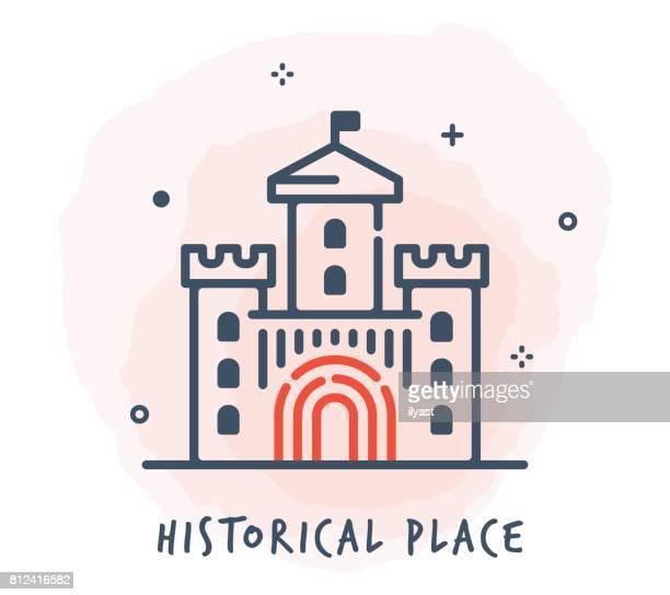 ilustrações, clipart, desenhos animados e ícones de ícone de linha de castelo - castelo