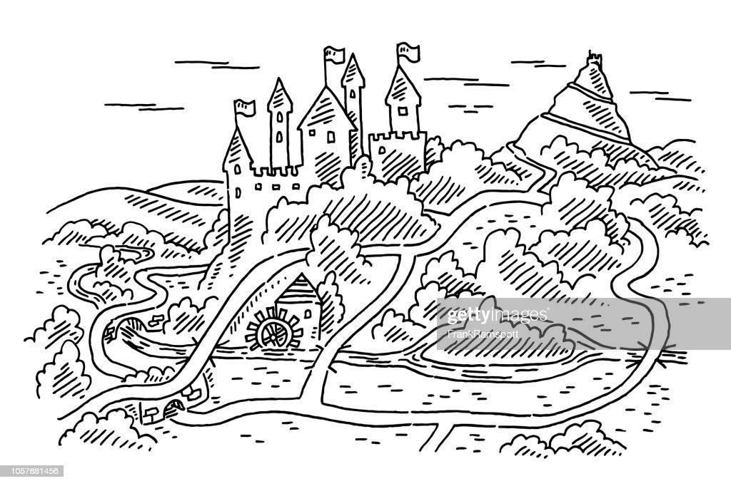 Castle Karte Wandern Plan-Zeichnung : Vektorgrafik