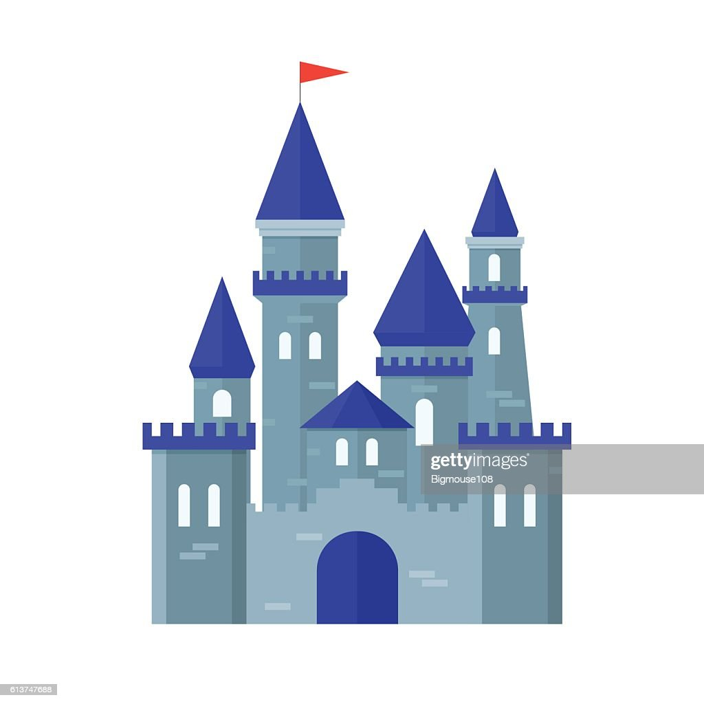 Castle Medievel Flat Design Style. Vector