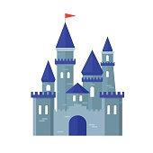 Castle Medievel Flat Design Style. Vector