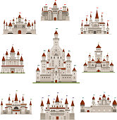 Castle or medival fairy tale fortress vector icons