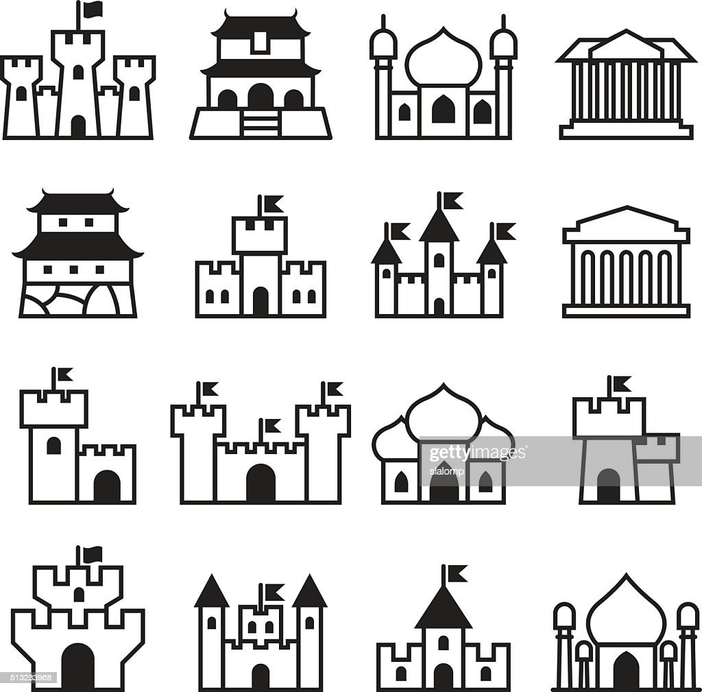 Castle & palace icon set 2