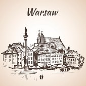 Castle Square - Warsaw, Poland. Sketch. Isolated on white background