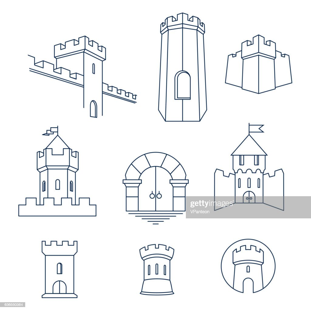Castle tower, kingdom fortress and castle gate set
