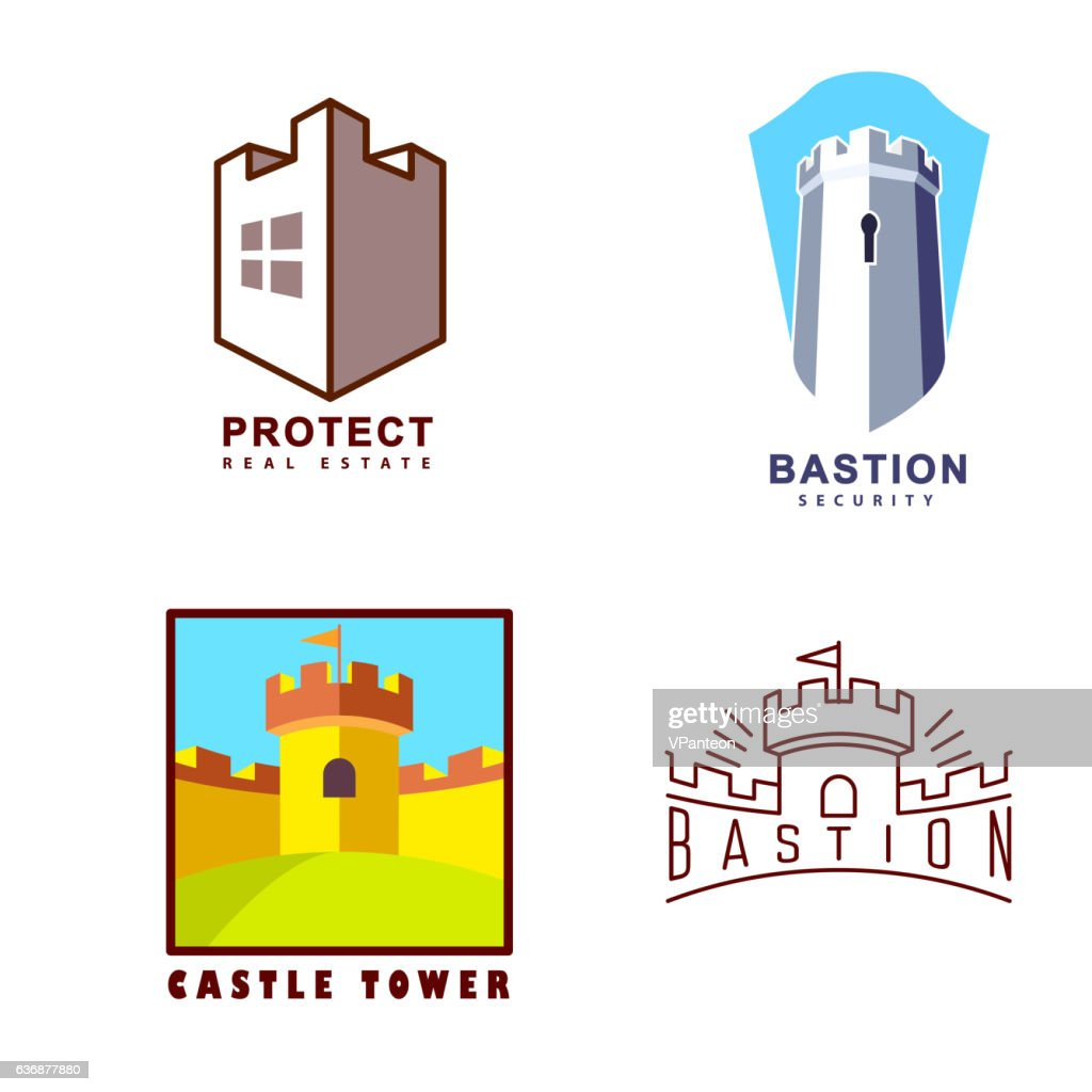 Castle tower logo for guard agency and protect system