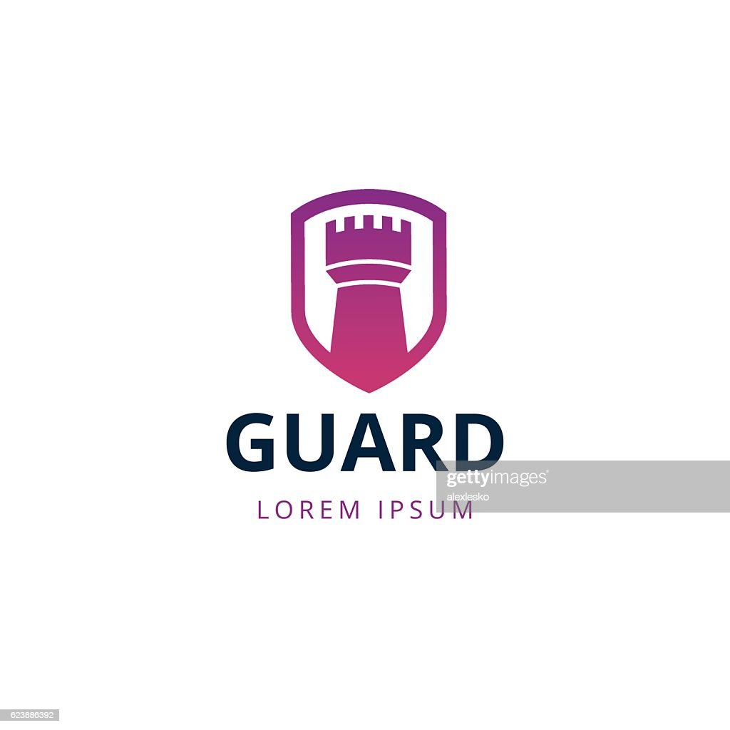 Castle tower security logo template