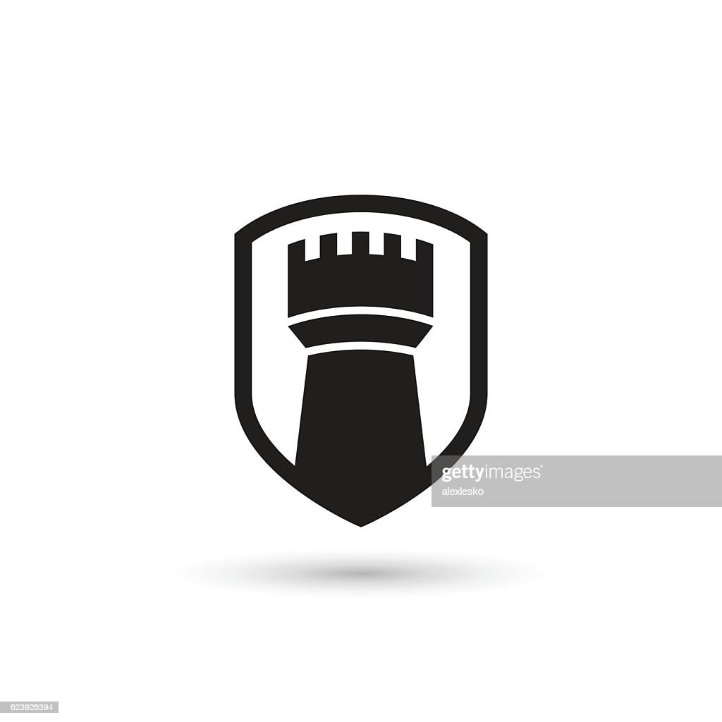 Castle tower shield. Isolated vector icon