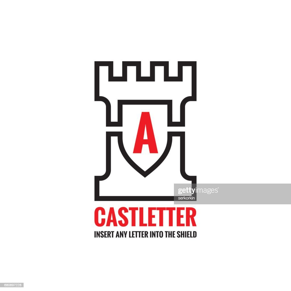 Castle tower - vector sign concept illustration. Creative sign template for any letter and title. Protection shield symbol. Design element.