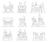 Castles and fortresses flat design vector icons. Set of 9 illustrations of ruins, mansions, palaces, villas and other medieval buildings
