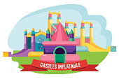 Castles inflatable set for summer rest isolated on white